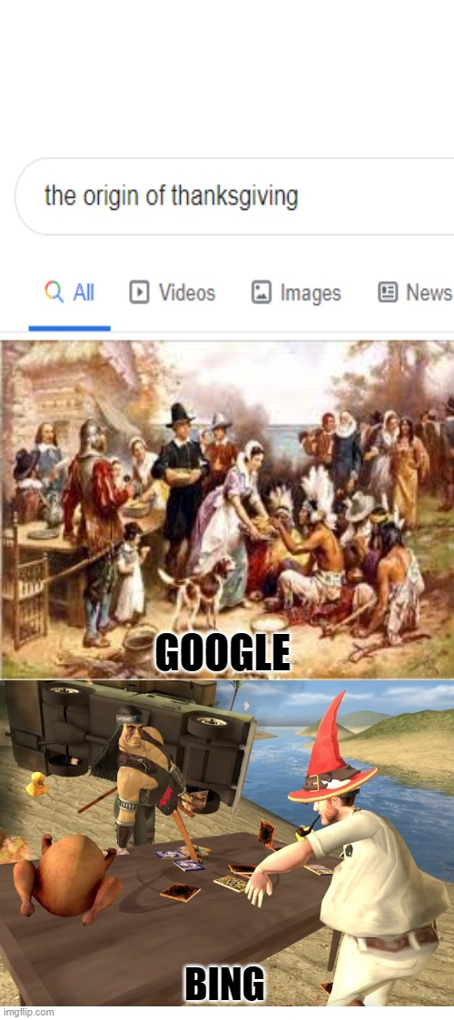 the origin of thanksgiving compared by google and bing |  GOOGLE; BING | image tagged in google vs bing,smg4,thanksgiving day,thanksgiving | made w/ Imgflip meme maker