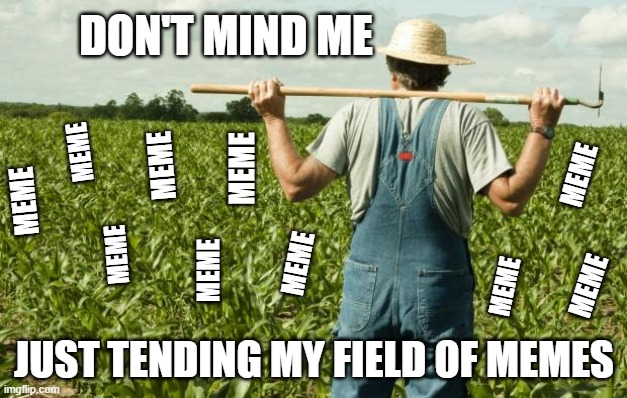 I'm just a simple meme farmer | DON'T MIND ME JUST TENDING MY FIELD OF MEMES MEME MEME MEME MEME MEME MEME MEME MEME MEME MEME | image tagged in meme,farmer,it ain't much but it's honest work | made w/ Imgflip meme maker