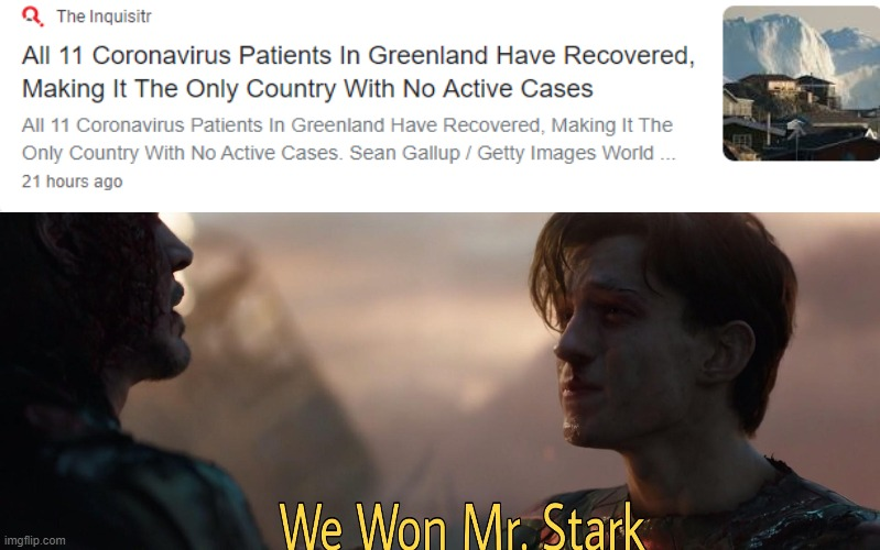 We won, Mr. Stark | image tagged in memes,coronavirus,greenland,covid-19,endgame,plague inc | made w/ Imgflip meme maker