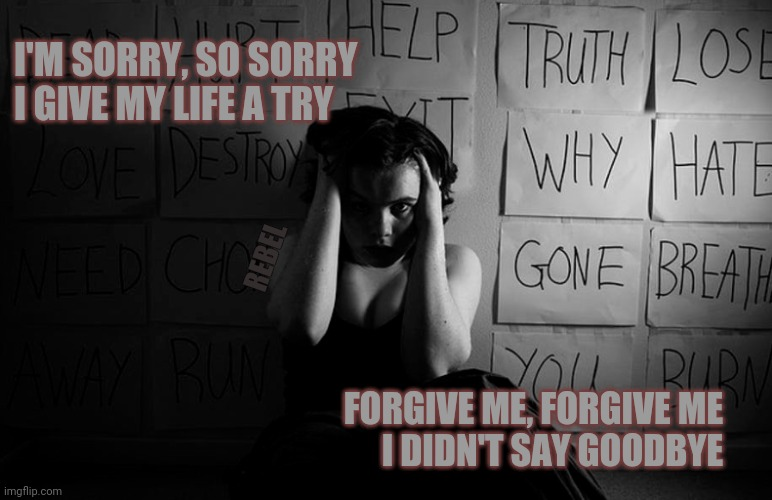 I'M SORRY, SO SORRY I GIVE MY LIFE A TRY; REBEL; FORGIVE ME, FORGIVE ME I DIDN'T SAY GOODBYE | image tagged in depression,sadness,suicide,army,combat | made w/ Imgflip meme maker