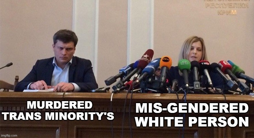 Man and woman microphone |  MIS-GENDERED WHITE PERSON; MURDERED TRANS MINORITY'S | image tagged in man and woman microphone | made w/ Imgflip meme maker