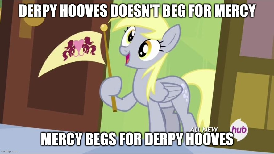 Derpy Hooves facts |  DERPY HOOVES DOESN'T BEG FOR MERCY; MERCY BEGS FOR DERPY HOOVES | image tagged in derpy hooves facts | made w/ Imgflip meme maker