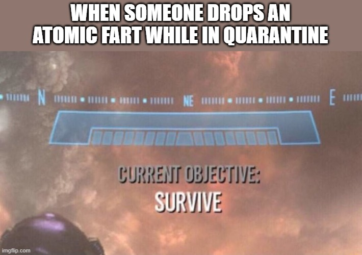 Atomic farts be like |  WHEN SOMEONE DROPS AN ATOMIC FART WHILE IN QUARANTINE | image tagged in current objective survive,memes,atomic farts,quarantine,smelly | made w/ Imgflip meme maker