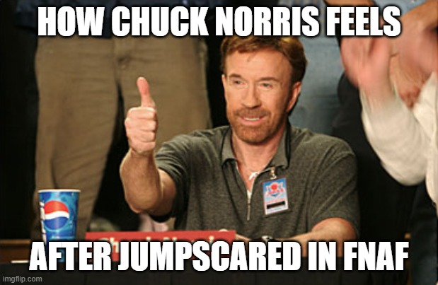 chuck norris isn't afraid of anything |  HOW CHUCK NORRIS FEELS; AFTER JUMPSCARED IN FNAF | image tagged in memes,chuck norris approves,chuck norris,fnaf,no fear | made w/ Imgflip meme maker
