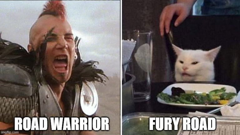 Wez yells at cat |  FURY ROAD; ROAD WARRIOR | image tagged in meme,wez,road warrior,cat,yelling | made w/ Imgflip meme maker