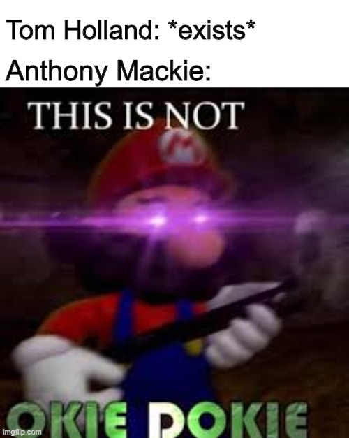 hEs A pRoBlEm |  Tom Holland: *exists*; Anthony Mackie: | image tagged in this is not okie dokie,memes,mario,marvel,tom holland,spiderman | made w/ Imgflip meme maker