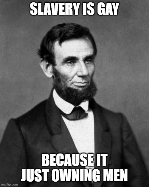 Abraham Lincoln |  SLAVERY IS GAY; BECAUSE IT JUST OWNING MEN | image tagged in abraham lincoln | made w/ Imgflip meme maker