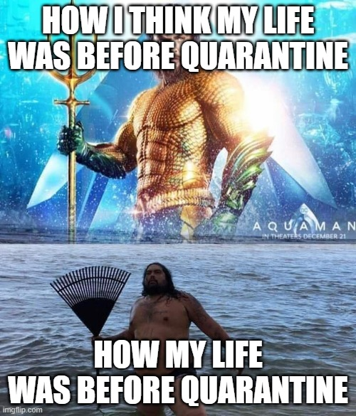 me vs reality - aquaman |  HOW I THINK MY LIFE WAS BEFORE QUARANTINE; HOW MY LIFE WAS BEFORE QUARANTINE | image tagged in me vs reality - aquaman | made w/ Imgflip meme maker