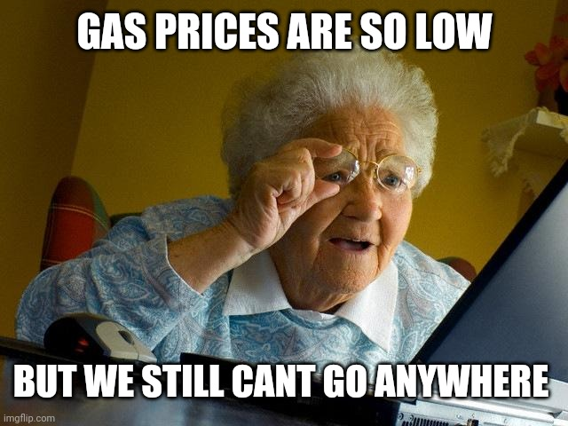 Grandma Finds The Internet |  GAS PRICES ARE SO LOW; BUT WE STILL CANT GO ANYWHERE | image tagged in memes,grandma finds the internet | made w/ Imgflip meme maker