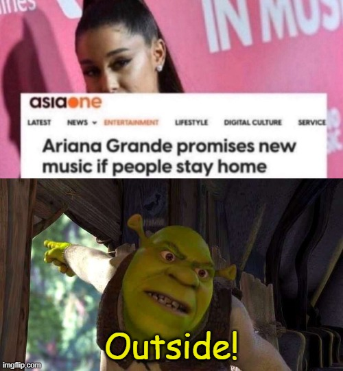 At least, her personality is less hateful than Cardi B's (i hope so). |  Outside! | image tagged in shrek 'outside',ariana grande,outside,shrek,memes,funny | made w/ Imgflip meme maker