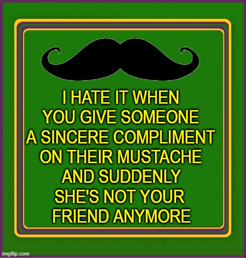 Mustache Etiquette |  I HATE IT WHEN YOU GIVE SOMEONE A SINCERE COMPLIMENT ON THEIR MUSTACHE; AND SUDDENLY SHE'S NOT YOUR    FRIEND ANYMORE | image tagged in vince vance,frank zappa,catholic,girls,mustache,new memes | made w/ Imgflip meme maker