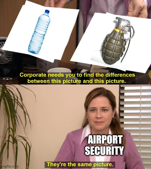 They are the same picture |  AIRPORT SECURITY | image tagged in they are the same picture,grenade,water,i too like to live dangerously | made w/ Imgflip meme maker