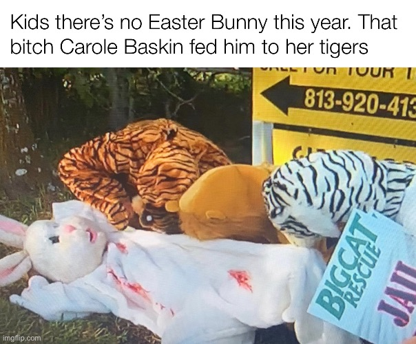Easter Bunny Tiger King | image tagged in easter bunny,easter,tiger king,carole baskin,funny memes | made w/ Imgflip meme maker