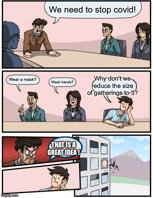 Boardroom Meeting Suggestion |  We need to stop covid! Why don't we reduce the size of gatherings to 3? Wear a mask? Wash hands? THAT IS A GREAT IDEA ! | image tagged in memes,boardroom meeting suggestion | made w/ Imgflip meme maker