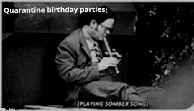 Quarantine Birthday Parties | image tagged in quarantine,birthday,dwight schrute,the office,sad,dwight | made w/ Imgflip meme maker