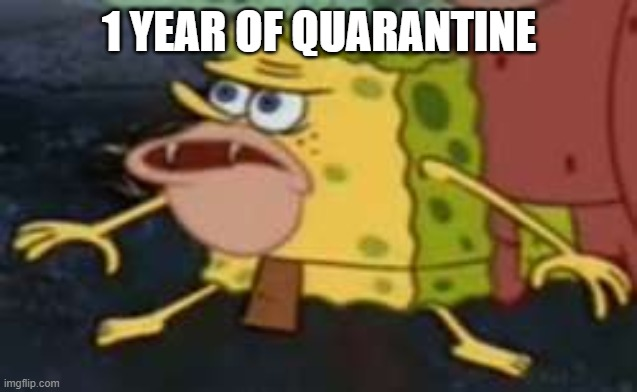 Spongegar |  1 YEAR OF QUARANTINE | image tagged in memes,spongegar | made w/ Imgflip meme maker