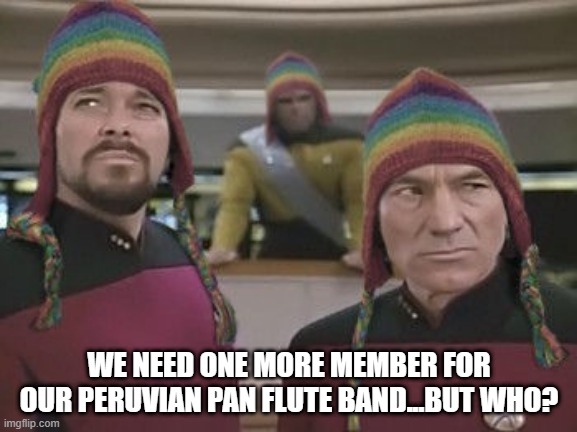Missing Musician |  WE NEED ONE MORE MEMBER FOR OUR PERUVIAN PAN FLUTE BAND...BUT WHO? | image tagged in picard riker hat | made w/ Imgflip meme maker