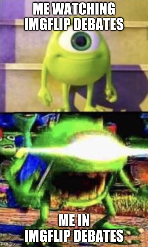 Mike wazowski |  ME WATCHING IMGFLIP DEBATES; ME IN IMGFLIP DEBATES | image tagged in mike wazowski | made w/ Imgflip meme maker