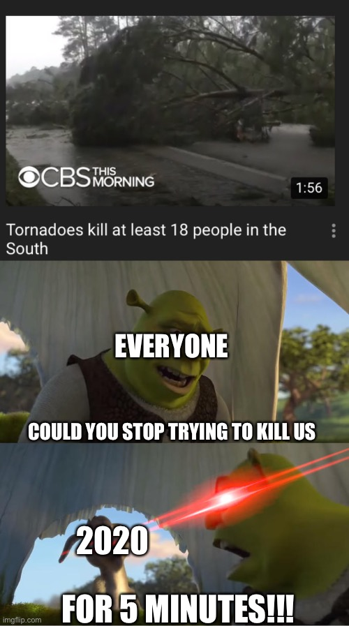 EVERYONE; COULD YOU STOP TRYING TO KILL US; 2020; FOR 5 MINUTES!!! | image tagged in shrek for five minutes,memes,2020,tornado,apocalypse,end of the world | made w/ Imgflip meme maker