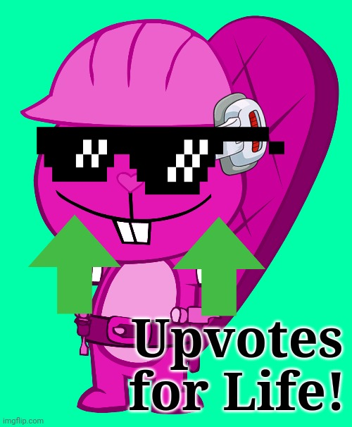 Crandy with Upvotes! |  Upvotes for Life! | image tagged in crandy with a scouter,happy tree friends,upvotes | made w/ Imgflip meme maker