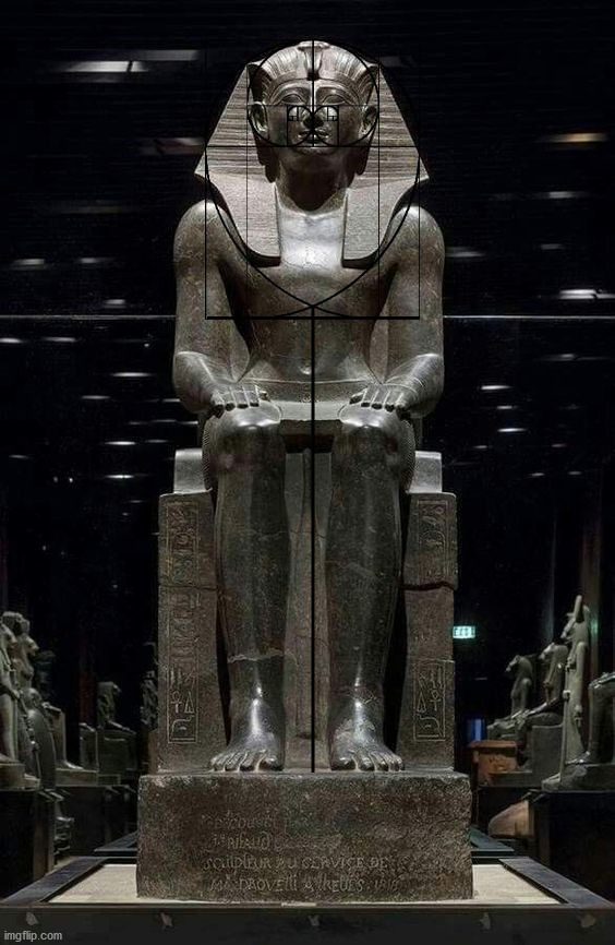 A dark Golden Ratio Ankh overlay on a dark Pharaoh statue.  Black is the absence of light. | image tagged in the golden ratio,ankh,egypt,dark,pharaoh,statue | made w/ Imgflip meme maker