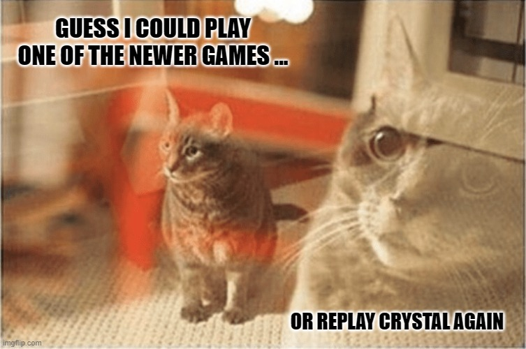 Playing older or newer Pokemon games? |  GUESS I COULD PLAY ONE OF THE NEWER GAMES ... OR REPLAY CRYSTAL AGAIN | image tagged in astonished cat,pokemon,pokemon sword and shield | made w/ Imgflip meme maker