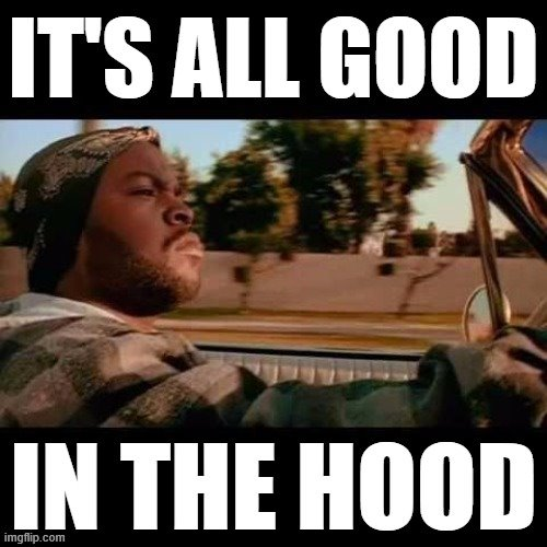 When it's all good in the hood. | image tagged in ice cube it's all good in the hood,ice cube,today was a good day,ice cube today was a good day,in the hood,good | made w/ Imgflip meme maker