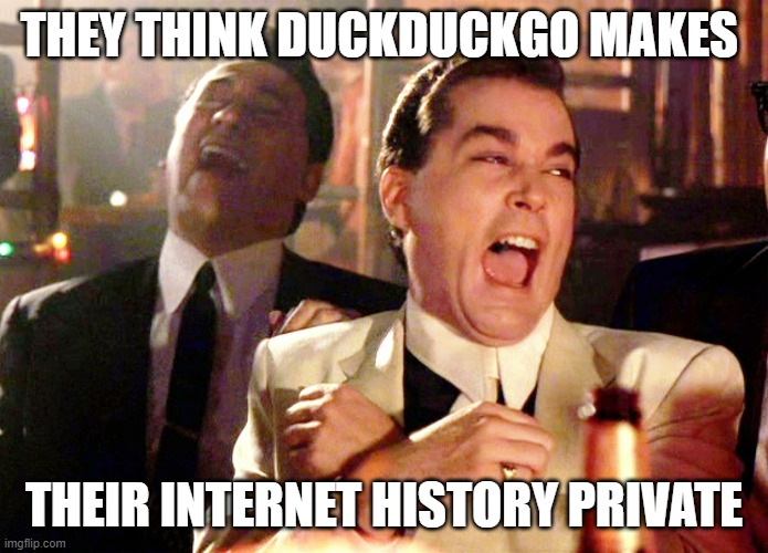 THEY THINK DUCKDUCKGO MAKES THEIR INTERNET HISTORY PRIVATE | image tagged in memes,good fellas hilarious | made w/ Imgflip meme maker
