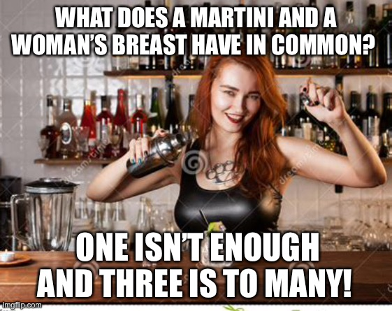 Bartender riddle |  WHAT DOES A MARTINI AND A WOMAN'S BREAST HAVE IN COMMON? ONE ISN'T ENOUGH AND THREE IS TO MANY! | image tagged in inquisitive bartender,riddle,bartender,martini,breasts | made w/ Imgflip meme maker