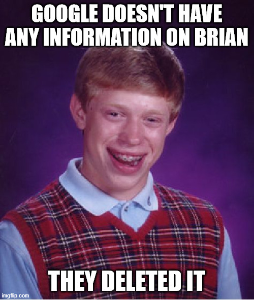 GOOGLE DOESN'T HAVE ANY INFORMATION ON BRIAN THEY DELETED IT | image tagged in memes,bad luck brian | made w/ Imgflip meme maker
