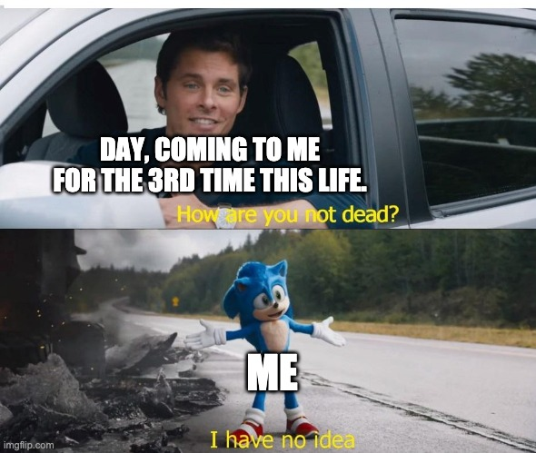 sonic how are you not dead |  DAY, COMING TO ME FOR THE 3RD TIME THIS LIFE. ME | image tagged in sonic how are you not dead | made w/ Imgflip meme maker