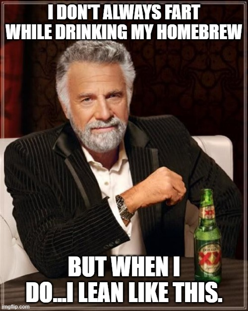 The Most Interesting Man In The World |  I DON'T ALWAYS FART WHILE DRINKING MY HOMEBREW; BUT WHEN I DO...I LEAN LIKE THIS. | image tagged in memes,the most interesting man in the world | made w/ Imgflip meme maker