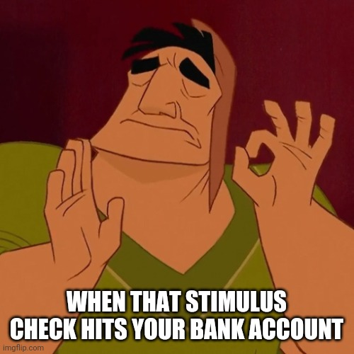 pacha |  WHEN THAT STIMULUS CHECK HITS YOUR BANK ACCOUNT | image tagged in pacha,check,bank account | made w/ Imgflip meme maker