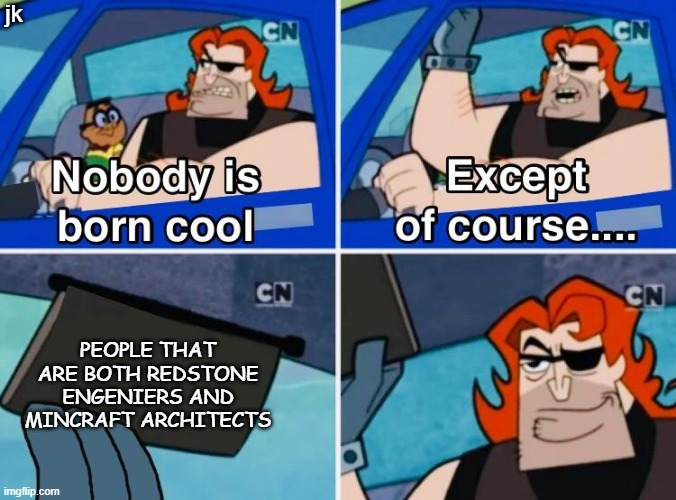 Nobody is born cool |  jk; PEOPLE THAT ARE BOTH REDSTONE ENGENIERS AND MINCRAFT ARCHITECTS | image tagged in nobody is born cool,minecraft,memes | made w/ Imgflip meme maker
