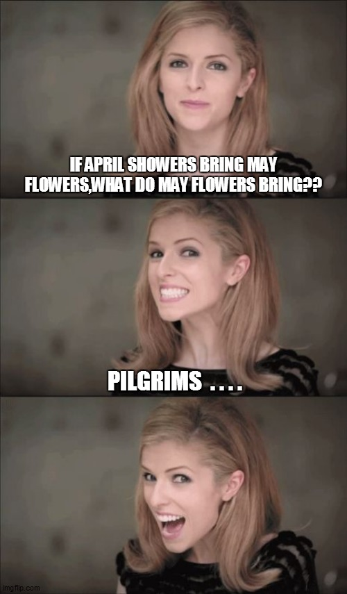 Bad Pun Anna Kendrick Meme |  IF APRIL SHOWERS BRING MAY FLOWERS,WHAT DO MAY FLOWERS BRING?? PILGRIMS  . . . . | image tagged in fun,funny memes,funny meme,lol,bad pun,too funny | made w/ Imgflip meme maker