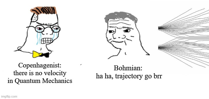 Bohmian trajectory go brr |  Copenhagenist: there is no velocity in Quantum Mechanics; Bohmian:  ha ha, trajectory go brr | image tagged in quantum physics | made w/ Imgflip meme maker