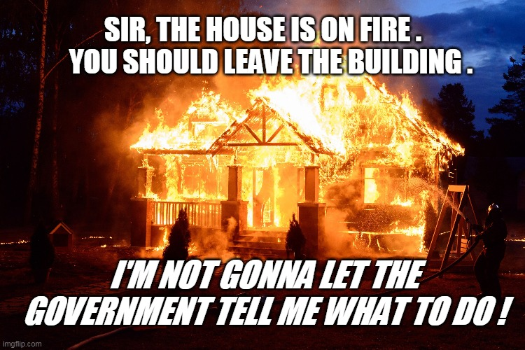 SIR, THE HOUSE IS ON FIRE .    YOU SHOULD LEAVE THE BUILDING . I'M NOT GONNA LET THE GOVERNMENT TELL ME WHAT TO DO ! | image tagged in government | made w/ Imgflip meme maker