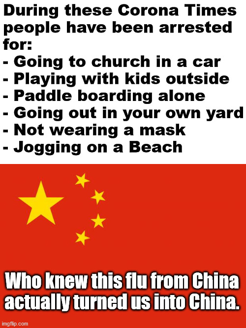 I think we are turning chinese, I really think so. |  During these Corona Times  people have been arrested  for: - Going to church in a car - Playing with kids outside - Paddle boarding alone - Going out in your own yard - Not wearing a mask - Jogging on a Beach; Who knew this flu from China actually turned us into China. | image tagged in china flag,corona virus,chinese | made w/ Imgflip meme maker
