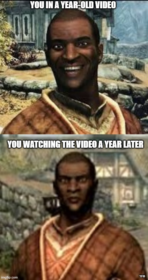 YOU IN A YEAR-OLD VIDEO; YOU WATCHING THE VIDEO A YEAR LATER; TFB | image tagged in skyrim | made w/ Imgflip meme maker