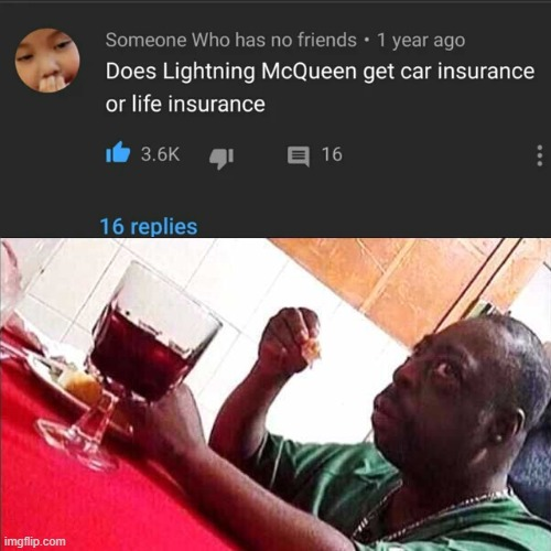 image tagged in cars,youtube,scared black guy,lightning mcqueen | made w/ Imgflip meme maker