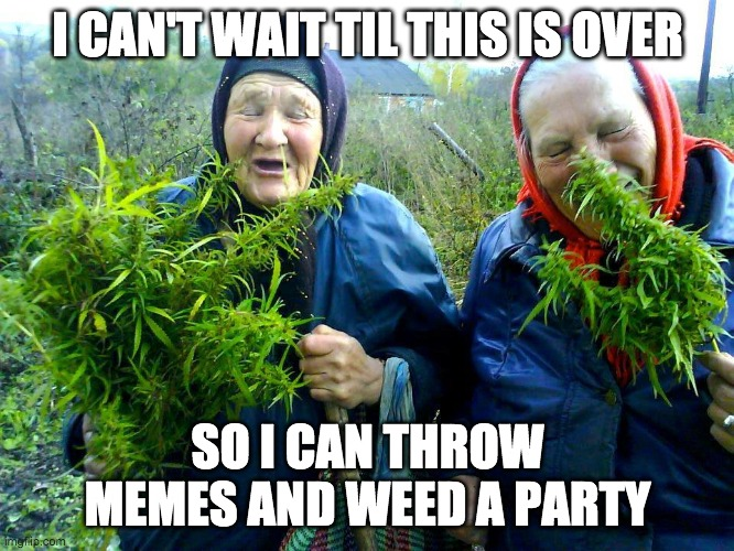 Russian women weed |  I CAN'T WAIT TIL THIS IS OVER; SO I CAN THROW MEMES AND WEED A PARTY | image tagged in russian women weed,weed,smoke weed everyday,memes,coronavirus,quarantine | made w/ Imgflip meme maker