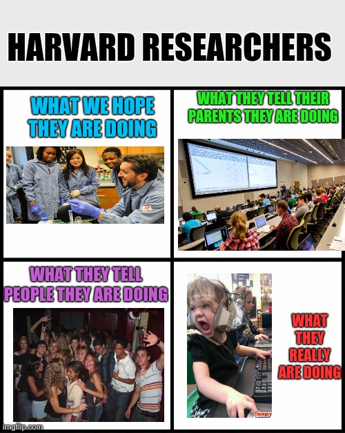 No College Students Were Harmed In the Making of This Meme |  HARVARD RESEARCHERS; WHAT THEY TELL THEIR PARENTS THEY ARE DOING; WHAT WE HOPE THEY ARE DOING; WHAT THEY REALLY ARE DOING; WHAT THEY TELL PEOPLE THEY ARE DOING | image tagged in blank drake format,college,college life,lies | made w/ Imgflip meme maker