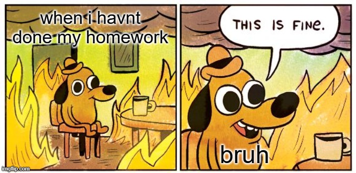 This Is Fine |  when i havnt done my homework; bruh | image tagged in memes,this is fine | made w/ Imgflip meme maker