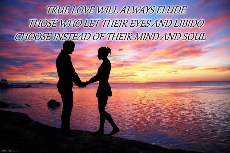 romance |  TRUE LOVE WILL ALWAYS ELUDE THOSE WHO LET THEIR EYES AND LIBIDO CHOOSE INSTEAD OF THEIR MIND AND SOUL | image tagged in true love | made w/ Imgflip meme maker
