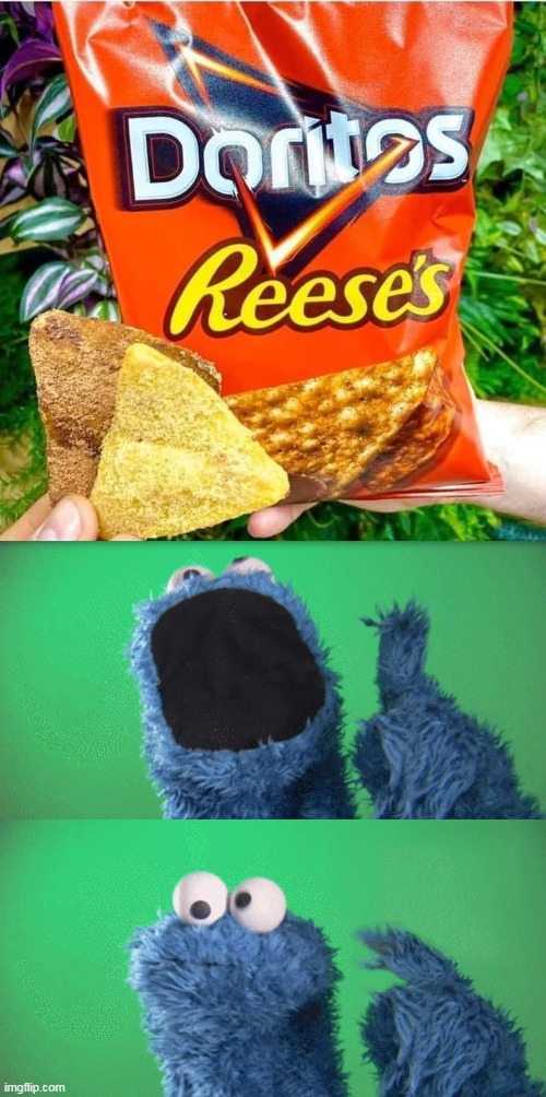 DoReese's Piectos | image tagged in cookie monster wait what,memes,doritos,reese's,cookie monster,wait what | made w/ Imgflip meme maker
