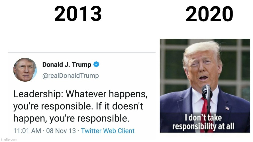 The evolution of responsibility | image tagged in trump,coronavirus,potus | made w/ Imgflip meme maker