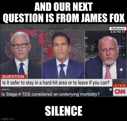 Is Stage-4 TDS Considered An Underlying Morbidity? |  AND OUR NEXT QUESTION IS FROM JAMES FOX; SILENCE | image tagged in trump derangement syndrome,cnn,memes,anderson cooper,coronavirus,covid-19 | made w/ Imgflip meme maker