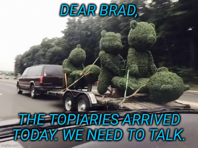 Tawdry Bears |  DEAR BRAD, THE TOPIARIES ARRIVED TODAY. WE NEED TO TALK. | image tagged in tawdry,not teddy | made w/ Imgflip meme maker