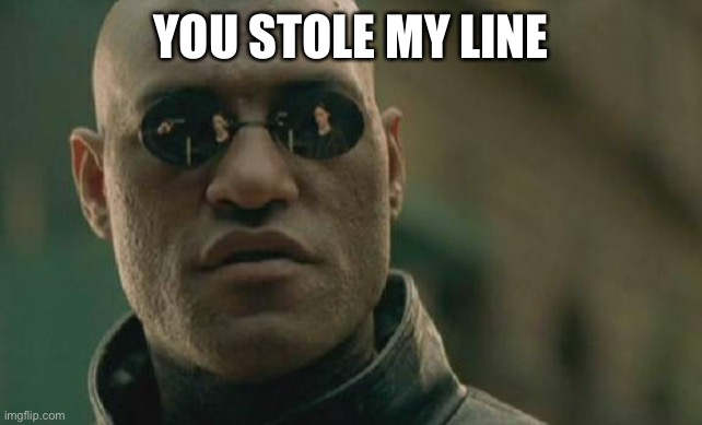 Matrix Morpheus Meme | YOU STOLE MY LINE | image tagged in memes,matrix morpheus | made w/ Imgflip meme maker