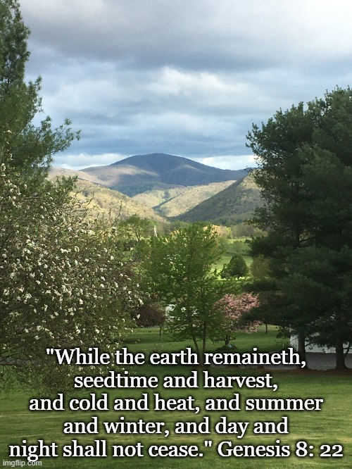"Promise | ""While the earth remaineth, seedtime and harvest, and cold and heat, and summer and winter, and day and night shall not cease."" Genesis 8: 2 